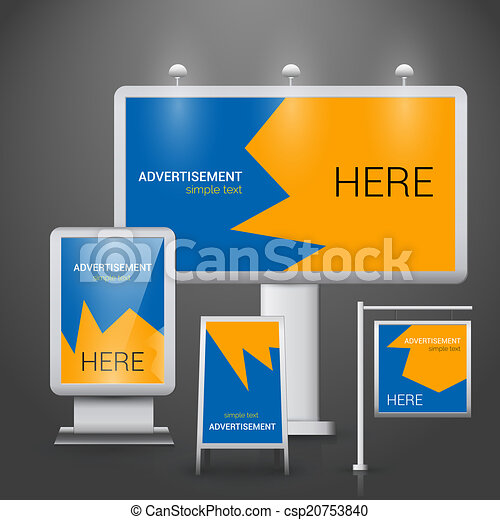 EPS Vector of Outdoor advertising template - Blue and ...