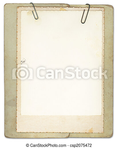 Blank Vintage Papers Clipped Together - csp2075472