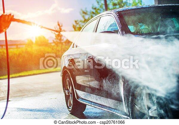 夏, 洗浄, 自動車 - csp20761066