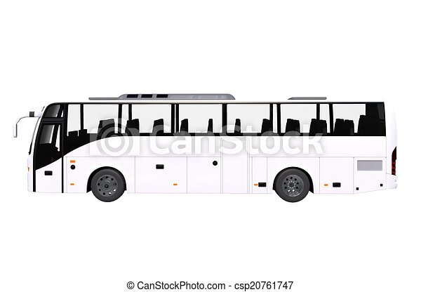 Drawing of White Bus Side View Isolated on White. Modern ...