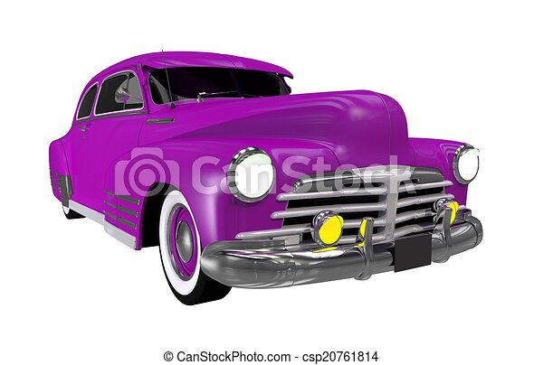 Clipart Of Purple Classic Car Isolated On White Solid Background