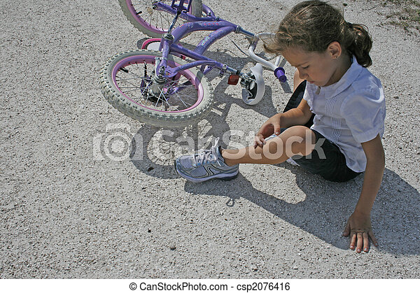 Girl falling off bike - csp2076416