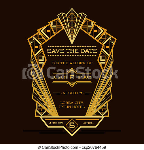 Save the Date - Wedding Invitation Card - Art Deco Vintage Style - in vector - csp20764459