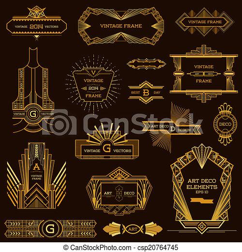 Art Deco Vintage Frames and Design Elements - in vector - csp20764745
