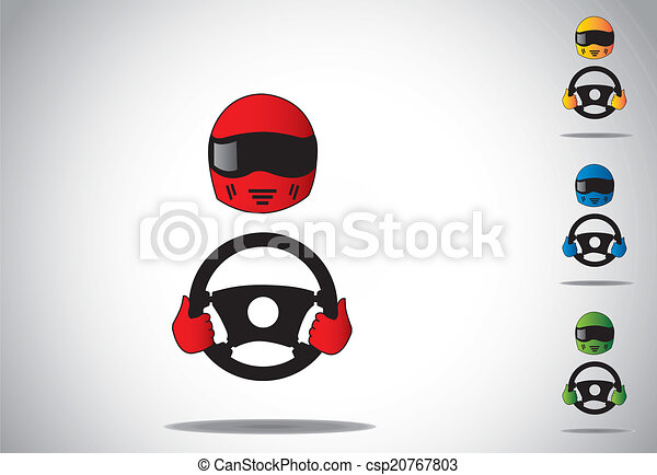 vector clipart of colorful racing car driver helmet with