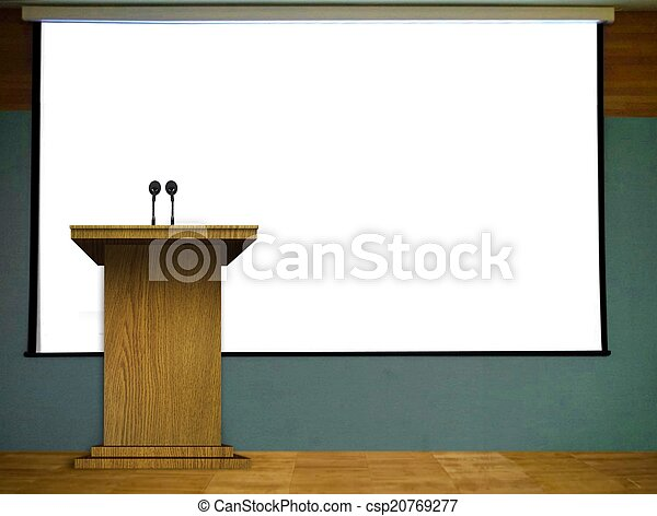 Podium with Blank Projector Screen - csp20769277
