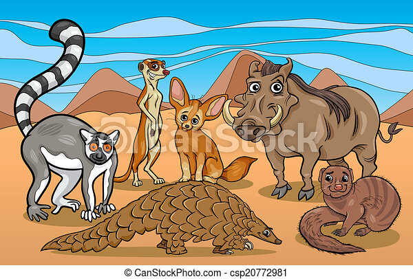 african mammals animals cartoon illustration - csp20772981