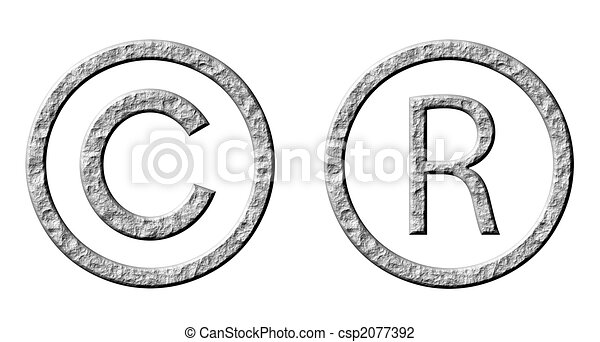 3D Stone Copyright and Registered Symbols - csp2077392