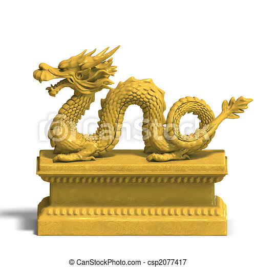 Chinese Golden Dragon Drawing a Golden Chinese Dragon Statue
