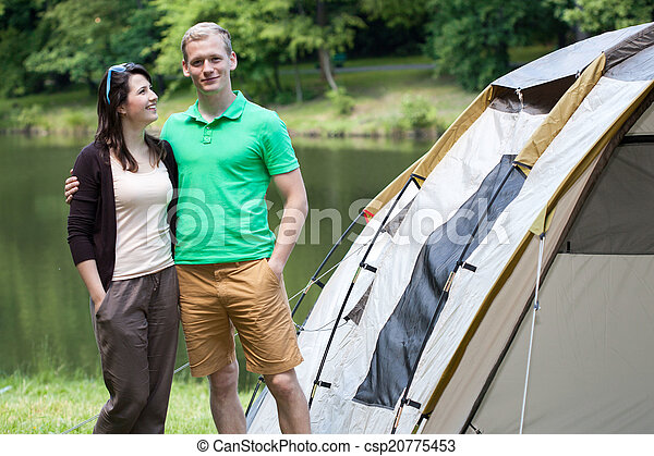 Couple on camping by the lake - csp20775453