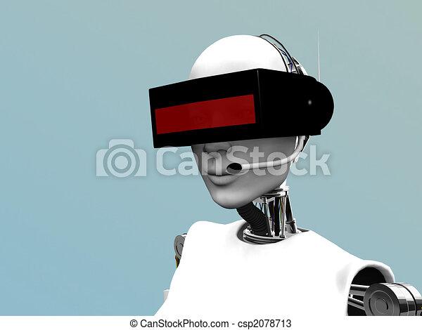 Female robot wearing futuristic headset. - csp2078713