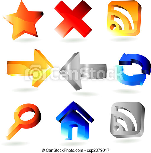 9 shiny 3 dimension web icons - csp2079017