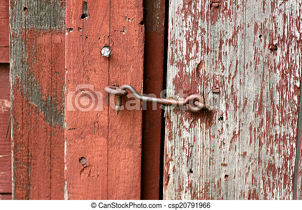 Red Barn Doors Clip Art stock image of cast iron hook and eye lock on old barn door