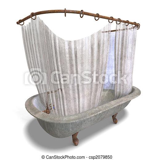 dirty bathtube with shower curtain - csp2079850
