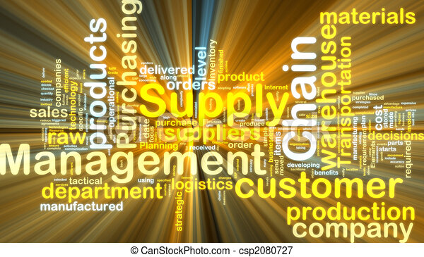 Supply chain management wordcloud glowing - csp2080727