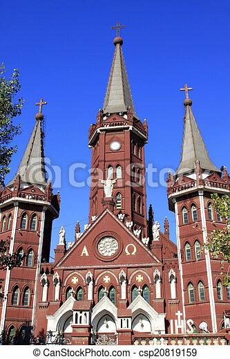 catholic church building landscape, tangshan city, hebei provinc - csp20819159