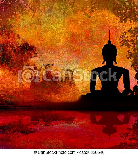 dessin de silhouette de a bouddha asiatique paysage dans csp20826646 recherchez des. Black Bedroom Furniture Sets. Home Design Ideas