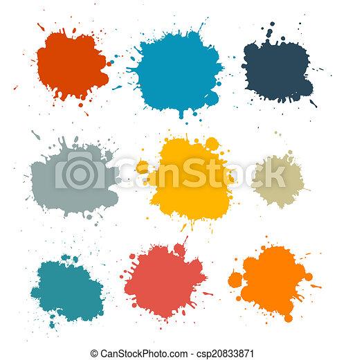 Colorful Retro Vector Stains, Blots, Splashes Set - csp20833871