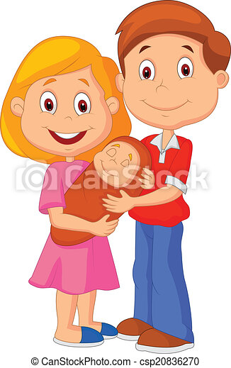 Cartoon Young adult couple tenderly - csp20836270