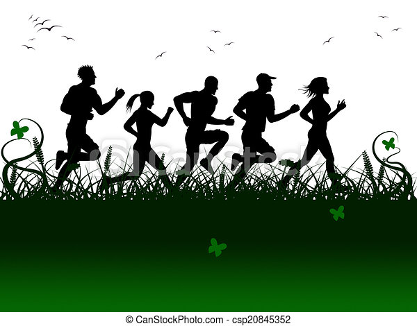 Jogging Landscape Shows Get Fit And Fitness - csp20845352