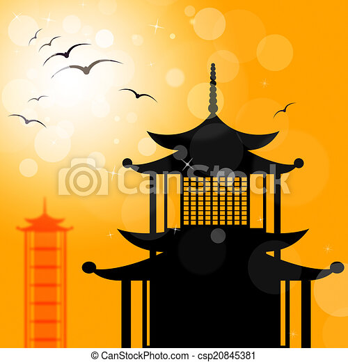 Pagoda Silhouette Indicates Religion Asia And Oriental - csp20845381
