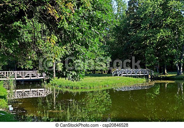 Lake and bridges in beautiful natur - csp20846528