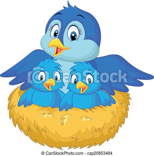 Vector of Cartoon Mother bird with her two ba - Vector ...