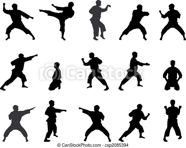 Silhouettes of positions of the karateka. - csp2085394