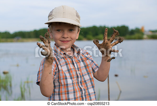 Children rest in nature on the lake in summer - csp20855213