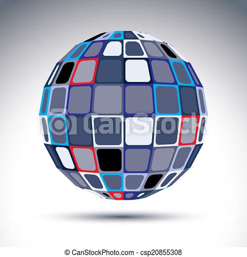 Gray urban spherical fractal object, 3d metal mirror ball. Kalei - csp20855308