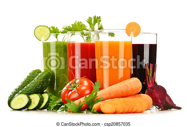 Glasses with fresh vegetable juices isolated on white - csp20857035