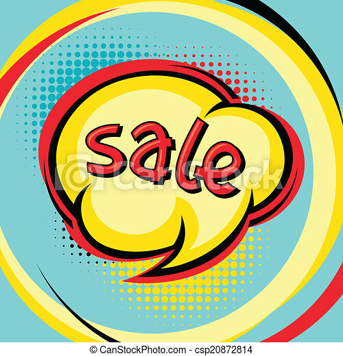Sale comic speech bubble background in cartoon style. - csp20872814