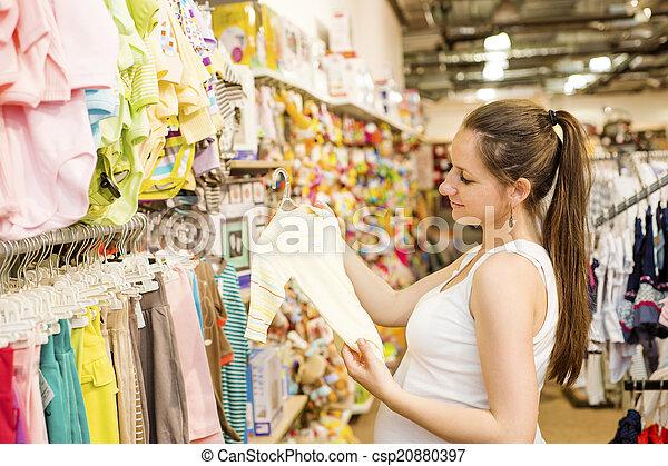 frau, shoppen, schwanger - csp20880397
