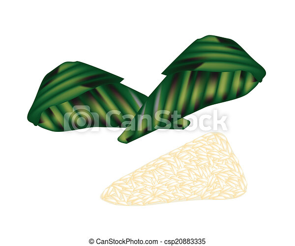 Rice Leaf Drawing Thai Roasted Sticky Rice With