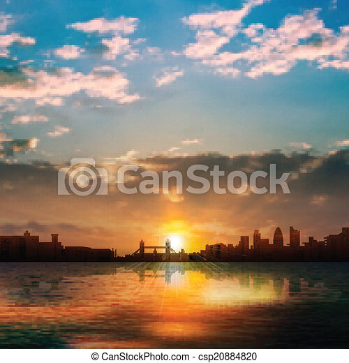 abstract nature background with silhouette of London and sunrise - csp20884820