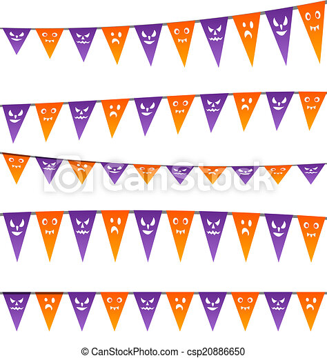 Clipart Vector of Halloween hanging streamers flags for your party ...