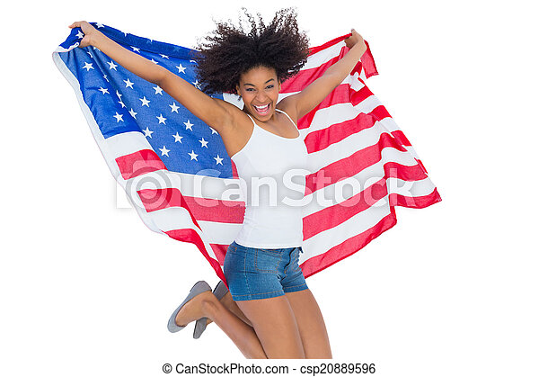 photos of girls jumping wrapped in american flag № 13372