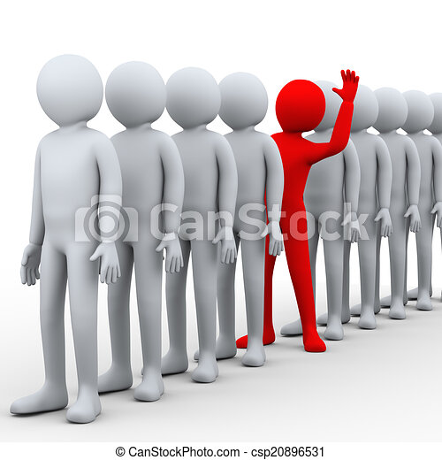 of 3d unique man in row - 3d illustration of unique red person ... Unique Person In A Crowd