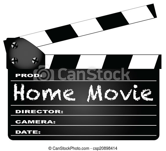vector clip art of home movie clapperboard a typical