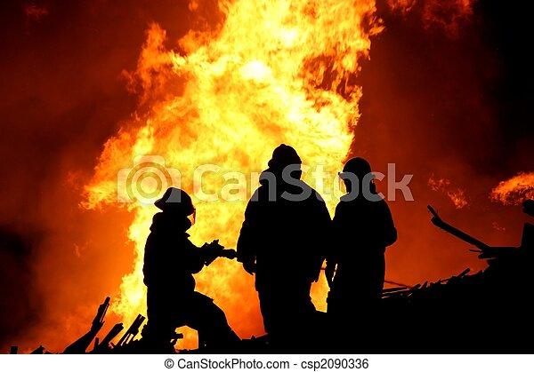 Firemen Silhouette - csp2090336