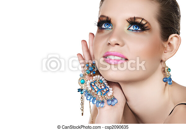 woman with necklace - csp2090635