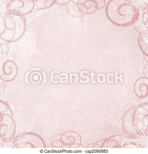 Pink shabby background with fancy swirl border - csp2090883