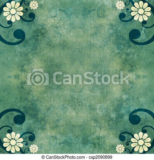 Shabby green vintage background with flowers and swirls - csp2090899