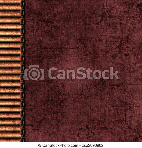 Layered brown and maroon background with braid edge - csp2090902