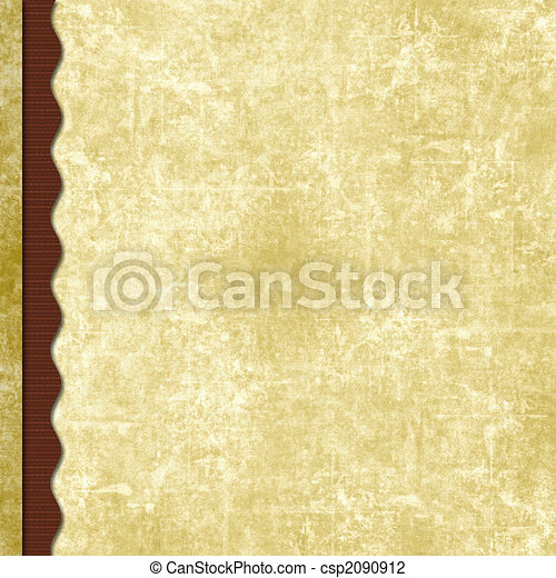 Layered old paper scrapbook background with wavy border - csp2090912
