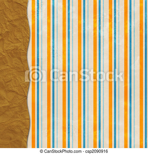 Layered striped background with brown paper sack border - csp2090916