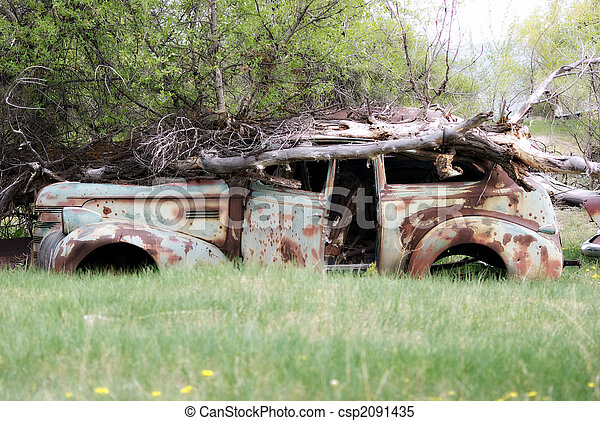 Abandoned Car - csp2091435