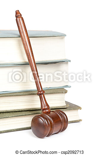 Wooden gavel and law books - csp2092713