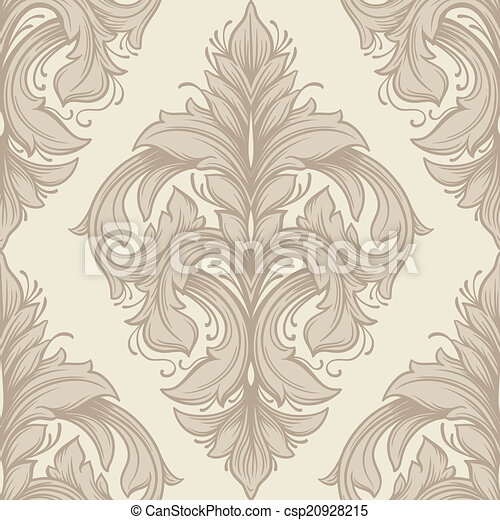 Vintage  victorian seamless pattern. Can be used for banner, invitation, wedding card, scrapbooking and others. Royal vector design element. - csp20928215