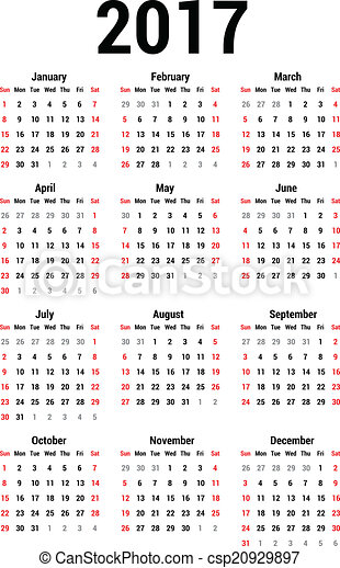 EPS Vectors of Calendar 2017 - Simple calendar for 2017. Calendar ...